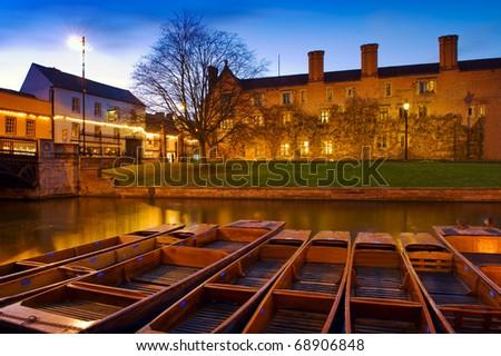 Punts on the River Cam - Cambridge, England - stock photo