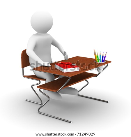 pupil sits at school desk. Isolated 3D image - stock photo