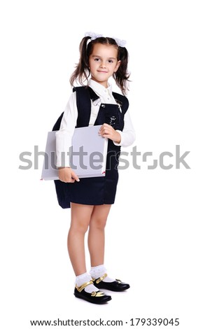 pupil with big book - stock photo