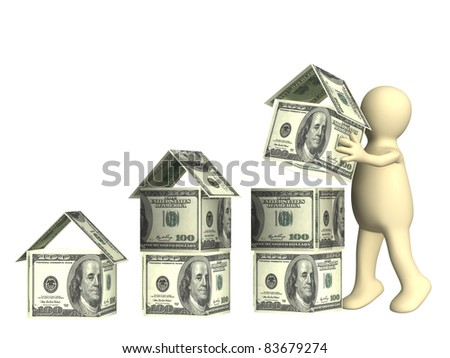 Puppet and houses from dollar banknotes. Isolated over white