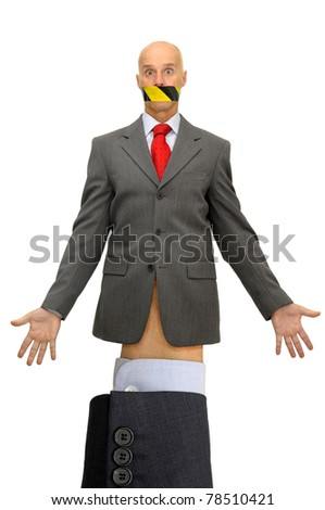 Puppet businessman isolated in white - stock photo