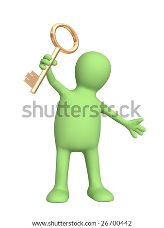 Puppet, holding in hand a gold key - stock photo