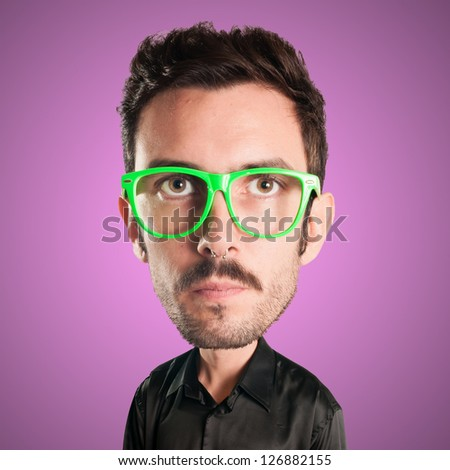 puppet man with big head on pink background