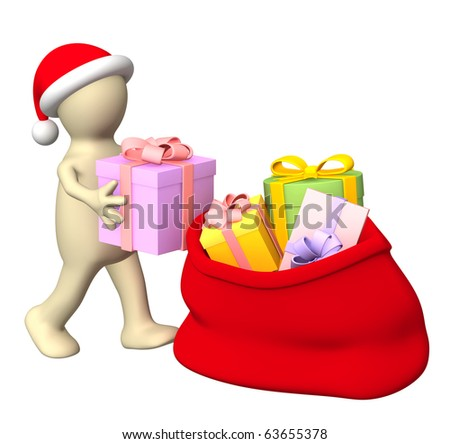 Puppet, stacking christmas gifts in a bag. Isolated over white - stock photo