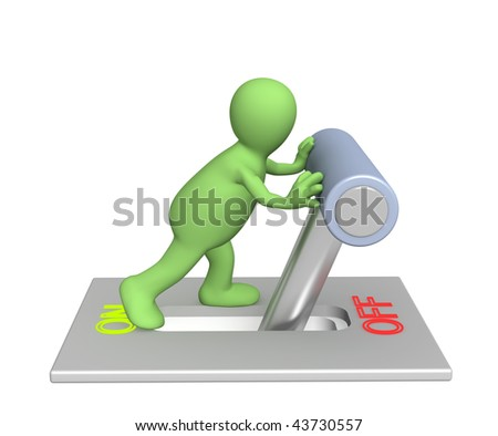 Puppet, turned lever on position off - stock photo