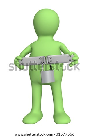Puppet with closed lock - over white