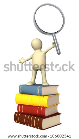 Puppet with loupe and books. Isolated over white - stock photo