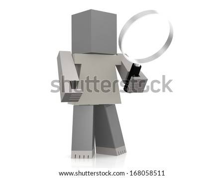 Puppet with magnifying glass - stock photo