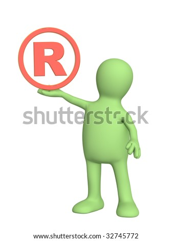 Puppet with registered symbol - over white