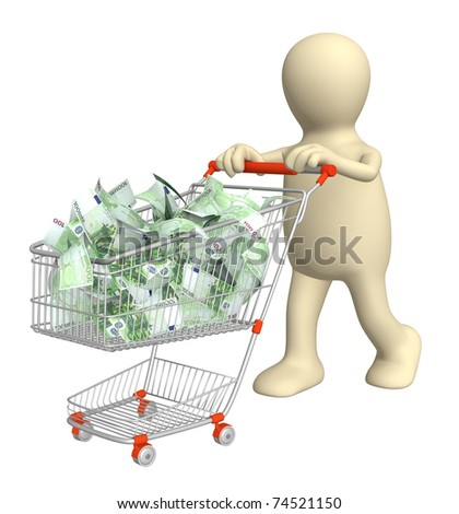 Puppet with shopping cart and euro. Isolated over white