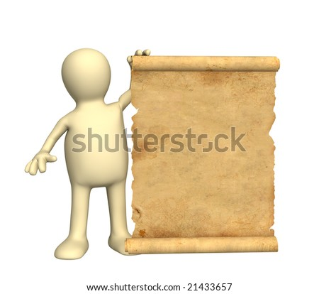 Puppet with the ancient manuscript in a hand - stock photo
