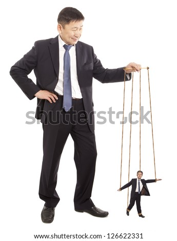 Puppeteer. Authority General Manager. Concept  on white background - stock photo