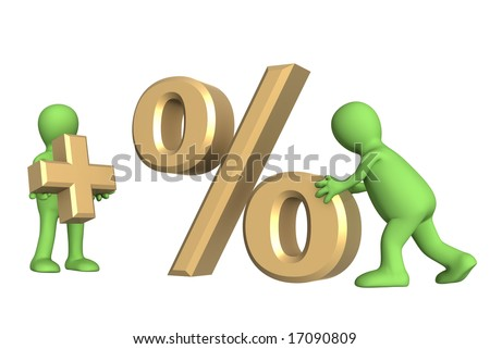 Puppets, holding in hands symbols plus and percent. Objects over white - stock photo