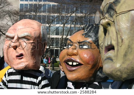 Puppets of Cheney, Rice, Rumsfeld in mock trial at anti war rally on the National Mall, Washington, DC, Saturday, January 27, 2007. - stock photo