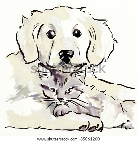 Puppy and kitten. Hand drawing sketch - stock photo