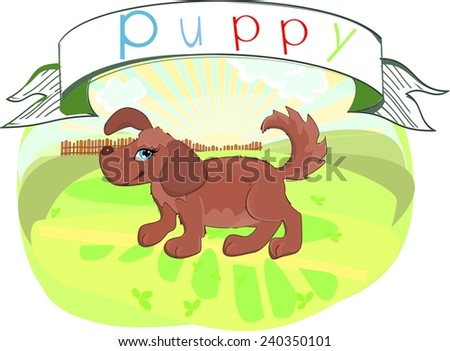 Puppy with title - stock photo