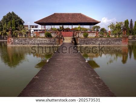 Pura Mayura ethnic Hindu water temple in Lombok, Indonesia - stock photo