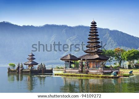 Pura Ulun Danu Bratan, or Pura Beratan Temple, Bali island, Indonesia. Pura Ulun Danu Bratan is a major Shivaite and water temple on Bali island, Indonesia. - stock photo
