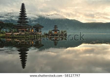 Pura Ulun Danu Bratan Water Temple in Bali - stock photo