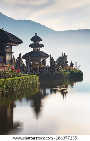Pura Ulun Danu temple a lake Beratan, Bali, Indonesia - stock photo