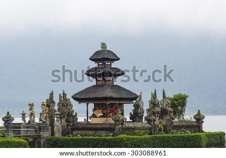 Pura Ulun Danu temple on a lake Beratan. Bali - stock photo