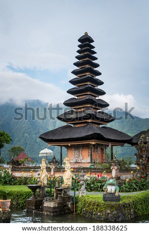 Pura Ulun Danu temple on a lake Beratan. Bali, Indonesia - stock photo