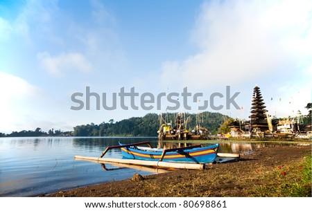 Pura Ulun Danu Temple on lake Bratan Bali Indonesia - stock photo