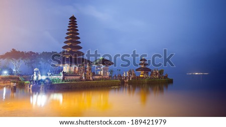 Pura Ulun Danu temple panorama at night on a lake Beratan. Bali, Indonesia - stock photo