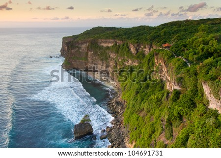Pura Uluwatu temple on Bali island in Indonesia - stock photo