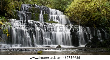 Purakaunui Falls, catlins, new zealand - stock photo