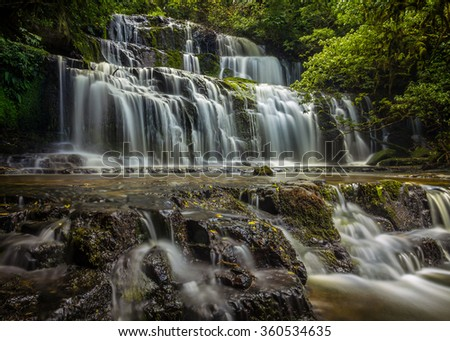 Purakaunui Falls on the South Island, New Zealand - stock photo