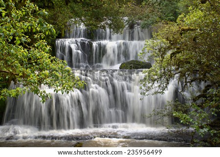 Purakaunui Waterfall, Catlins, South Island, New Zealand - stock photo