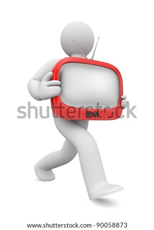 Purchase of tv. Image contain the clipping path - stock photo