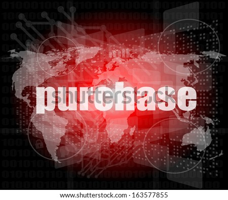 purchase words on digital touch screen interface - business concept, raster - stock photo