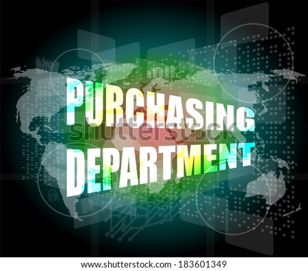 purchasing department words on digital screen with world map, infographics - stock photo