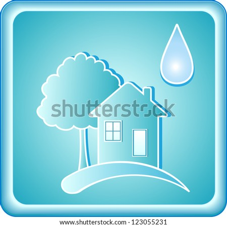 pure blue water sign with house tree and drop - stock photo