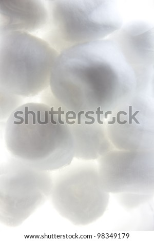 Pure cotton, Cotton ball texture isolated, white background - stock photo