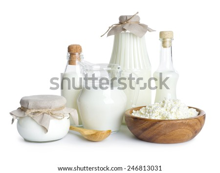 Pure dairy products isolated on white background - stock photo