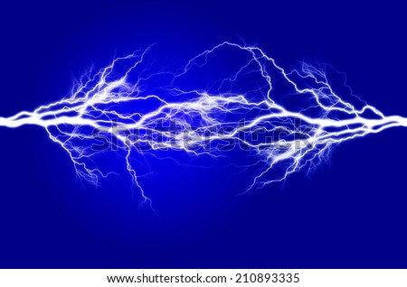 Pure energy and electricity with blue background symbolizing power - stock photo
