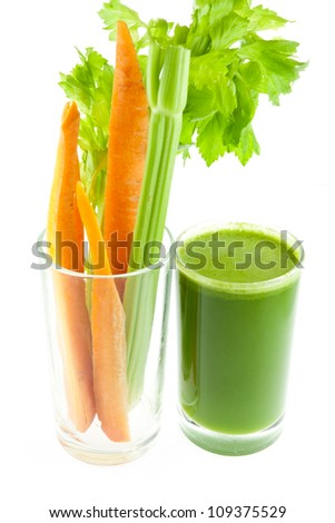 pure fresh green celery juice in glass isolated on white background....healthy concept