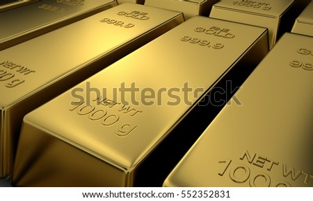 Pure Gold, Bullion Gold, 3D Render