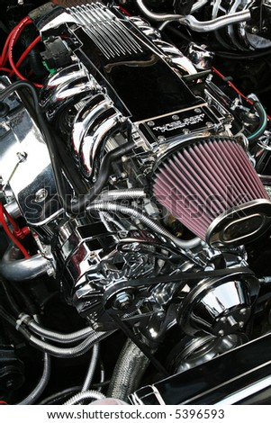 Pure horsepower, muscle car engine - stock photo