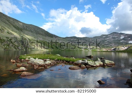 pure lake in mountains of altai