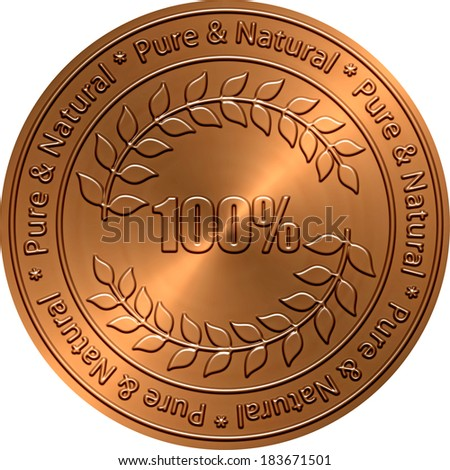 Pure & Natural Copper Seal - stock photo