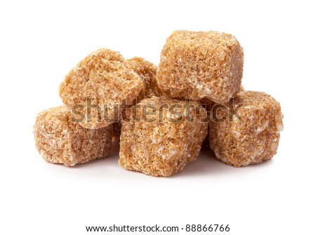 Pure Sugar Cane Cubes isolated on a white background