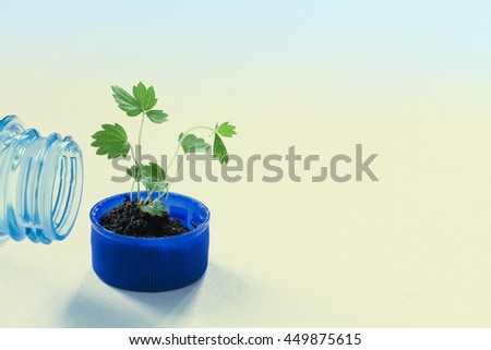 Pure water eco design conceptual poster template. Empty bottleneck and green sprout in a bottle cap. macro view pattern and texture leaves. Gradient blue beige background, soft focus - stock photo