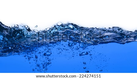 Pure Water splash with air bubbles isolated on white background