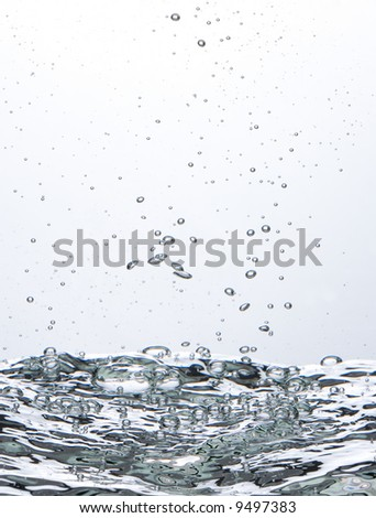 Pure water with bubbles - stock photo