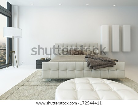 Pure white bedroom interior with king-size bed - stock photo