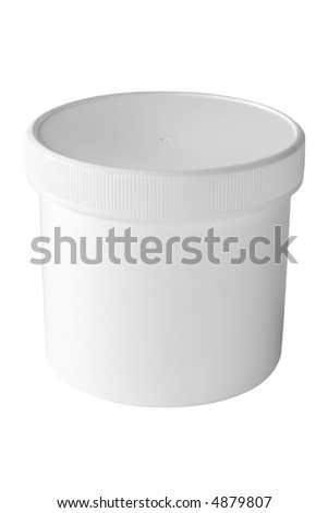Pure white round box with cap. (with clipping path) - stock photo